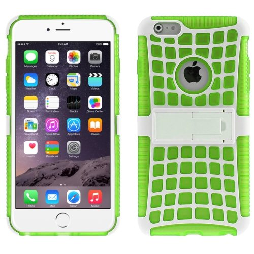 2 in 1 Spider Web Pattern Soft TPU and Hard Shockproof Cover for iPhone 6 with Stand (Green)