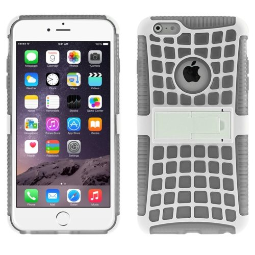 2 in 1 Spider Web Pattern Soft TPU and Hard Shockproof Cover for iPhone 6 with Stand (Grey)