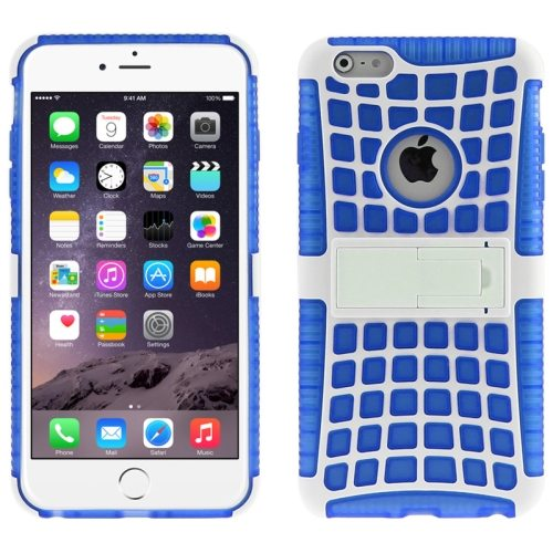 2 in 1 Spider Web Pattern Soft TPU and Hard Shockproof Cover for iPhone 6 with Stand (Blue)