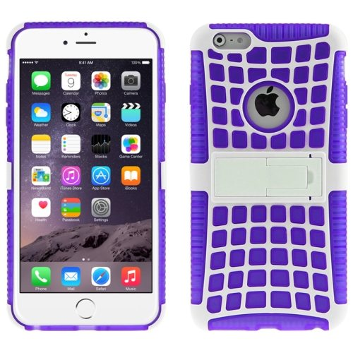2 in 1 Spider Web Pattern Soft TPU and Hard Shockproof Cover for iPhone 6 with Stand (Purple)