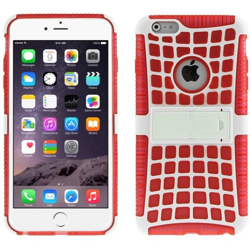 2 in 1 Spider Web Pattern Soft TPU and Hard Shockproof Cover for iPhone 6 with Stand (Red)