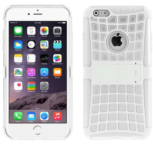 2 in 1 Spider Web Pattern Soft TPU and Hard Shockproof Cover for iPhone 6 with Stand (White)
