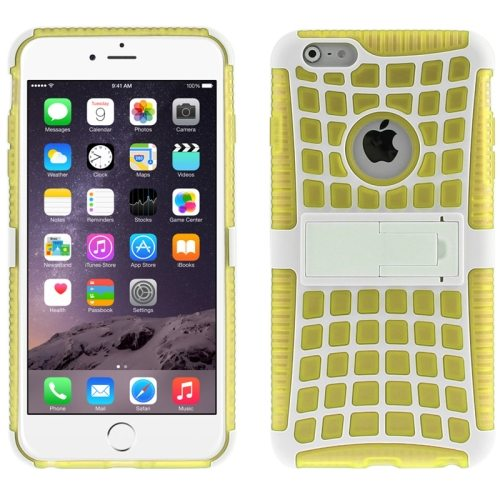 2 in 1 Spider Web Pattern Soft TPU and Hard Shockproof Cover for iPhone 6 with Stand (Yellow)