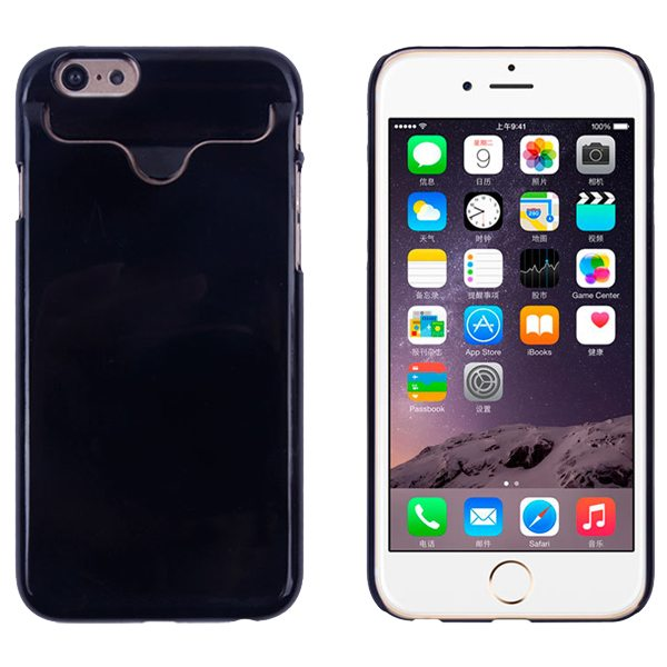 2015 Hot Selling Credit Card Slots PC Wallet Phone Case Cover for iPhone 6 with Built-in Holder (Black)