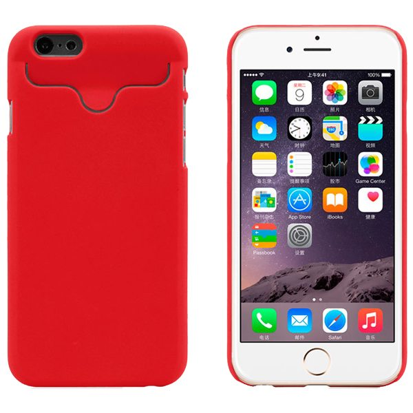 2015 Hot Selling Credit Card Slots PC Wallet Phone Case Cover for iPhone 6 with Built-in Holder (Red)