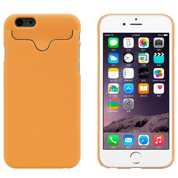 2015 Hot Selling Credit Card Slots PC Wallet Phone Case Cover for iPhone 6 with Built-in Holder (Orange)