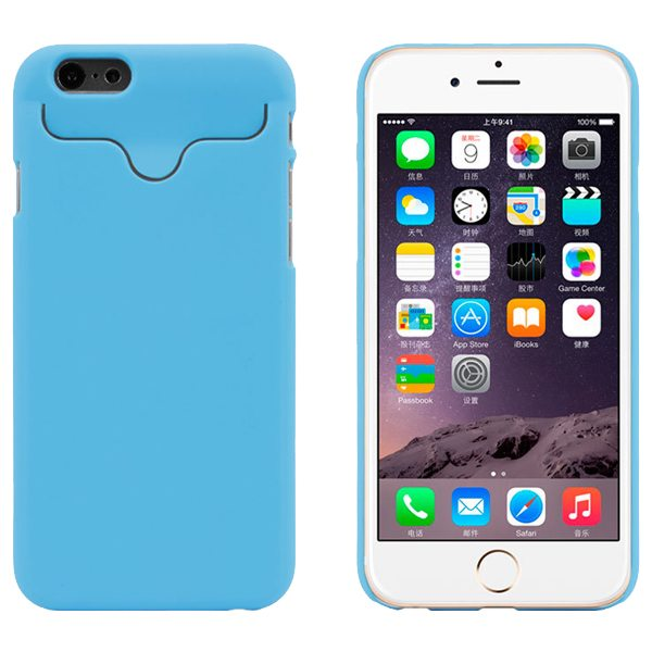 2015 Hot Selling Credit Card Slots PC Wallet Phone Case Cover for iPhone 6 with Built-in Holder (Light Blue)