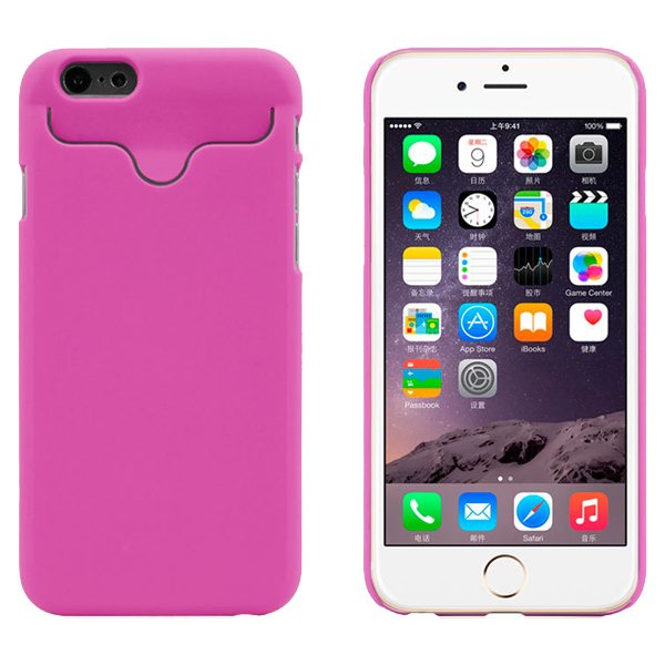 2015 Hot Selling Credit Card Slots PC Wallet Phone Case Cover for iPhone 6 with Built-in Holder (Rose)