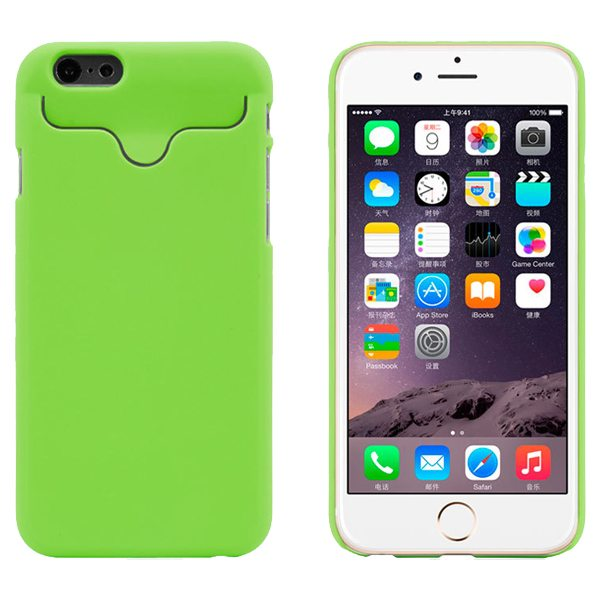 2015 Hot Selling Credit Card Slots PC Wallet Phone Case Cover for iPhone 6 with Built-in Holder (Green)