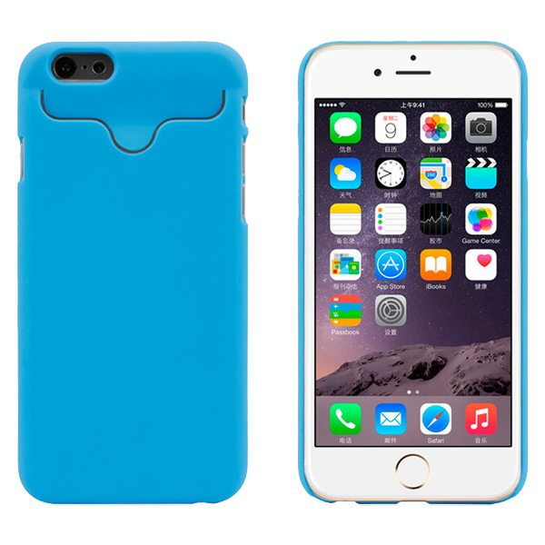 2015 Hot Selling Credit Card Slots PC Wallet Phone Case Cover for iPhone 6 with Built-in Holder (Blue)