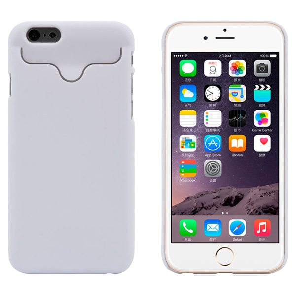 2015 Hot Selling Credit Card Slots PC Wallet Phone Case Cover for iPhone 6 with Built-in Holder (White)