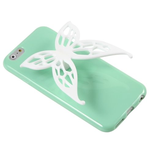3D Butterfly Style Protective TPU Case for iPhone 6 with Earphone Winder Function (Green)