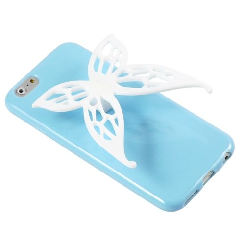 3D Butterfly Style Protective TPU Case for iPhone 6 with Earphone Winder Function (Blue)