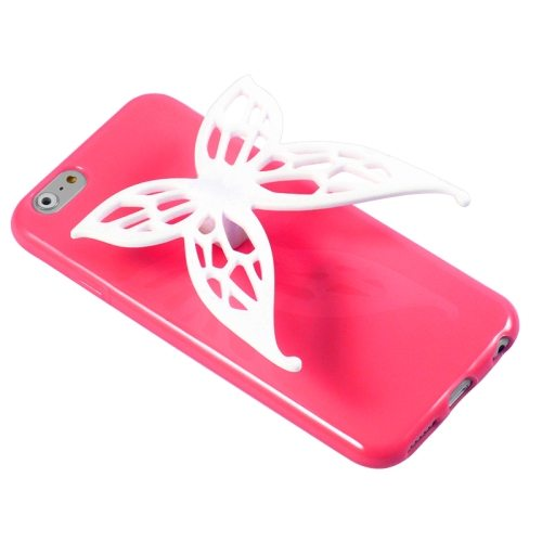 3D Butterfly Style Protective TPU Case for iPhone 6 with Earphone Winder Function (Red)