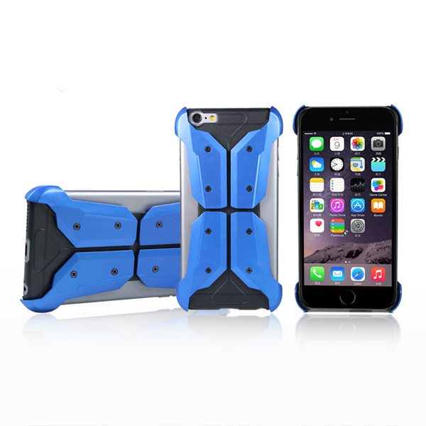 Armoured Style Protective Hard Case Cover for iPhone 6 Plus (Blue)