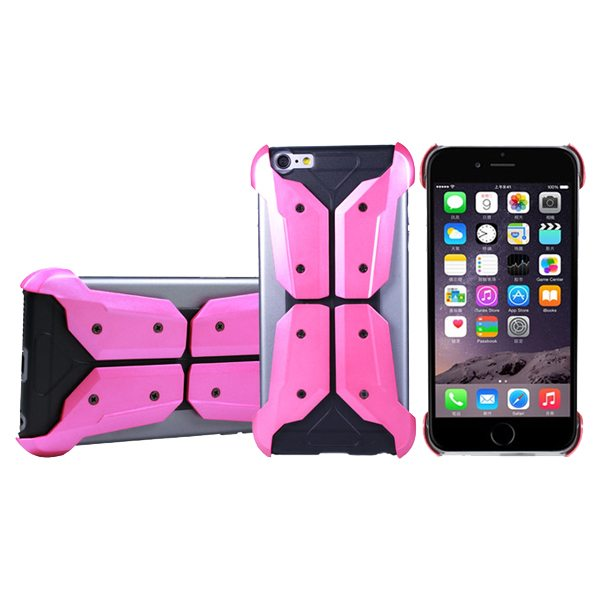 Armoured Style Protective Hard Case Cover for iPhone 6 Plus (Pink)