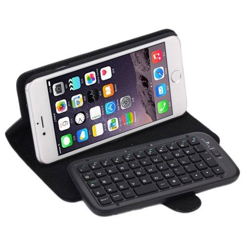 2 in 1 Detachable Plastic Bluetooth Keyboard Protective Leather Case for iPhone 6 (Black)