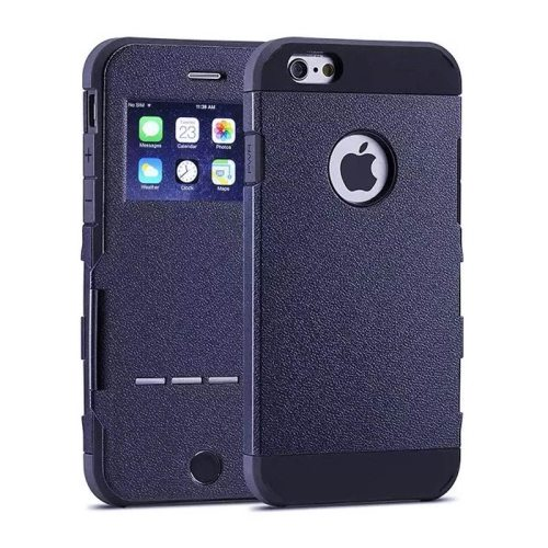Litchi Texture Hybrid Flip Smart Case for iPhone 6 with Caller ID Display Window and Wake-up / Sleep Function (Dark Blue)