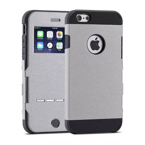 Litchi Texture Hybrid Flip Smart Case for iPhone 6 with Caller ID Display Window and Wake-up / Sleep Function (Gray)