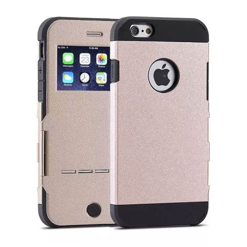 Litchi Texture Hybrid Flip Smart Case for iPhone 6 with Caller ID Display Window and Wake-up / Sleep Function (Beige)