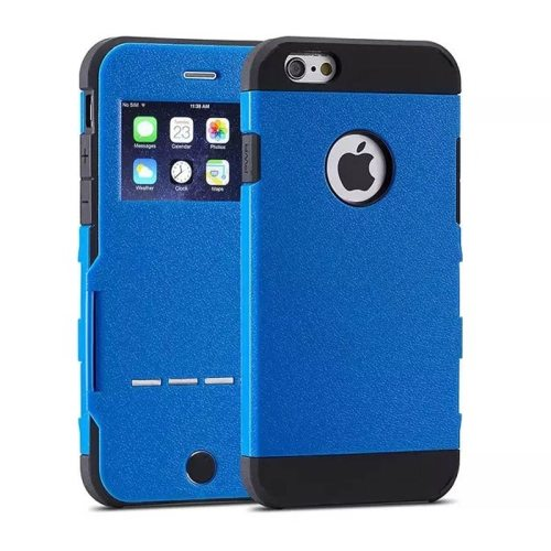 Litchi Texture Hybrid Flip Smart Case for iPhone 6 with Caller ID Display Window and Wake-up / Sleep Function (Blue)