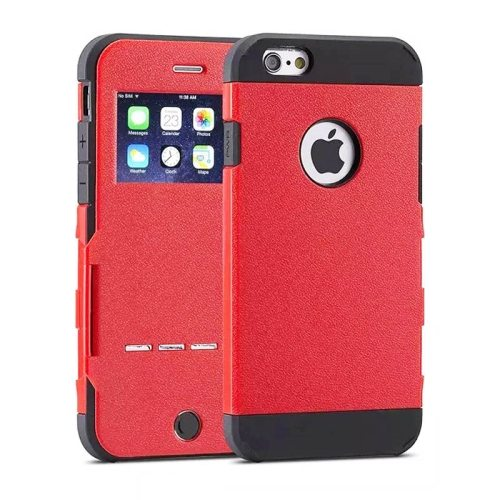 Litchi Texture Hybrid Flip Smart Case for iPhone 6 with Caller ID Display Window and Wake-up / Sleep Function (Red)