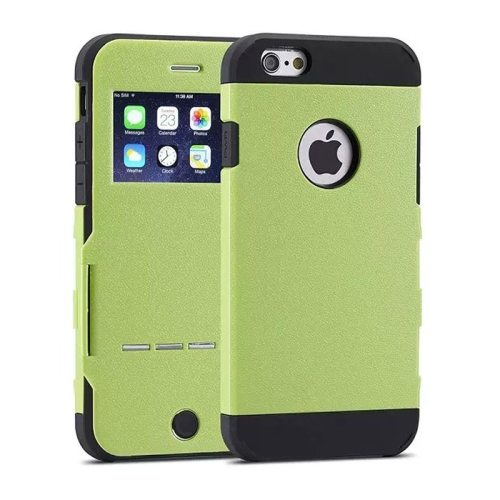 Litchi Texture Hybrid Flip Smart Case for iPhone 6 with Caller ID Display Window and Wake-up / Sleep Function (Green)