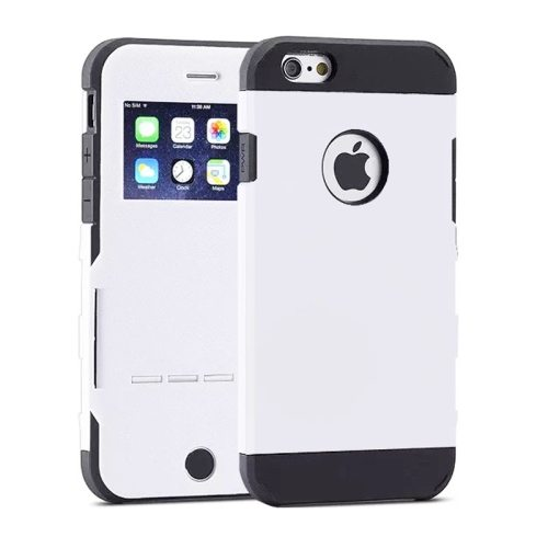 Litchi Texture Hybrid Flip Smart Case for iPhone 6 with Caller ID Display Window and Wake-up / Sleep Function (White)