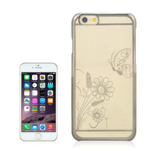 Beautiful Butterfly and Flowers Pattern Plating Border Transparent Back Cover for iPhone 6 with Different Colors(Black)