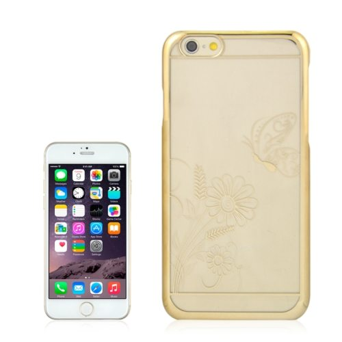 Beautiful Butterfly and Flowers Pattern Plating Border Transparent Back Cover for iPhone 6 with Different Colors(Yellow)