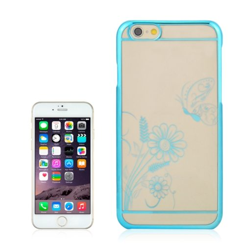 Beautiful Butterfly and Flowers Pattern Plating Border Transparent Back Cover for iPhone 6 with Different Colors(Blue)