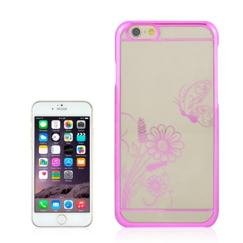 Beautiful Butterfly and Flowers Pattern Plating Border Transparent Back Cover for iPhone 6 with Different Colors(Pink)