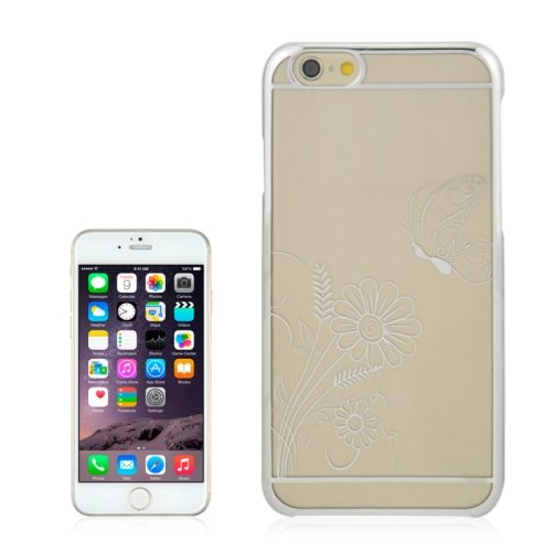 Beautiful Butterfly and Flowers Pattern Plating Border Transparent Back Cover for iPhone 6 with Different Colors(White)