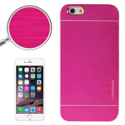 Brushed Texture Metal and Hard Hybrid Cover for iPhone 6 (Magenta)