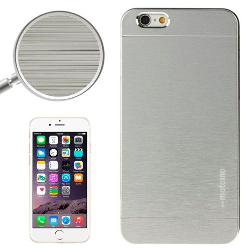Brushed Texture Metal and Hard Hybrid Cover for iPhone 6 (Silver)