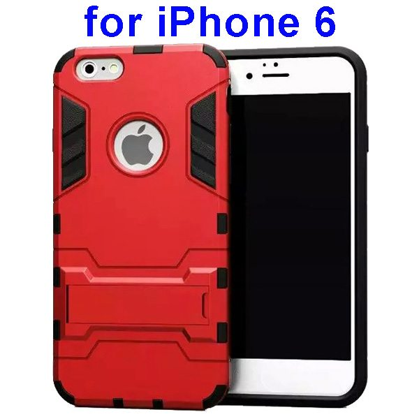 2 in 1 Soft TPU and Hard Shockproof Hybrid Case Cover for iPhone 6 (Red)