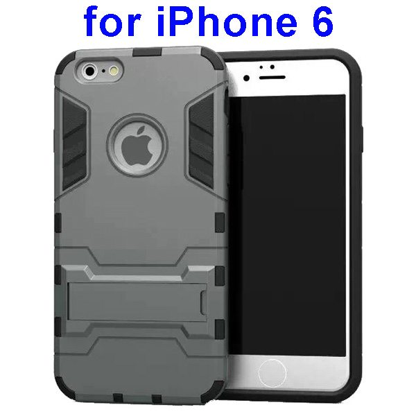 2 in 1 Soft TPU and Hard Shockproof Hybrid Case Cover for iPhone 6 (Grey)