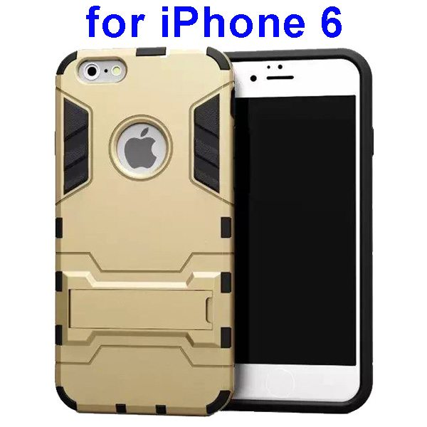 2 in 1 Soft TPU and Hard Shockproof Hybrid Case Cover for iPhone 6 (Gold)