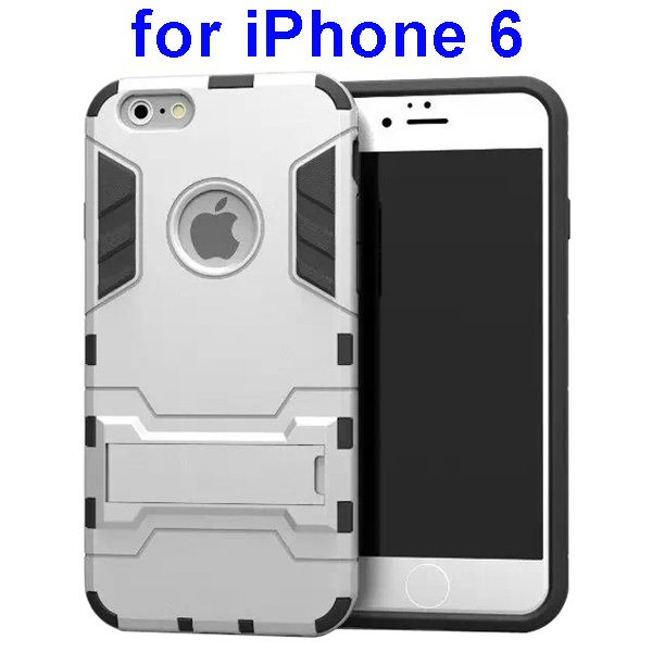 2 in 1 Soft TPU and Hard Shockproof Hybrid Case Cover for iPhone 6 (White)
