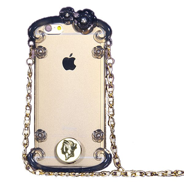 Perfume Bottle Pattern Protective Case for iPhone 6 with Chain(Black)