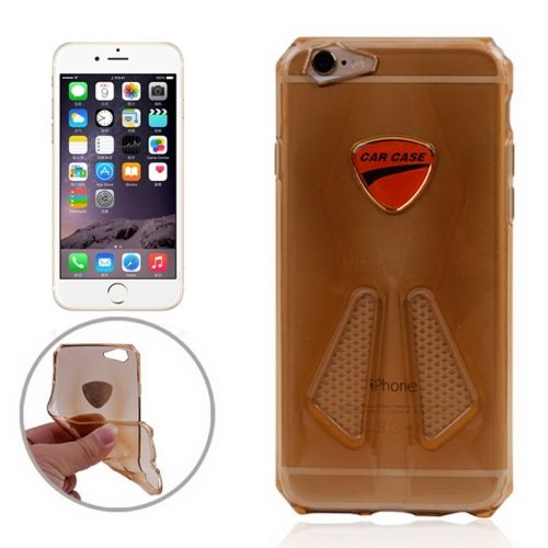 Racing Car Style Transparent Soft TPU Cover for iPhone 6 (Gold)