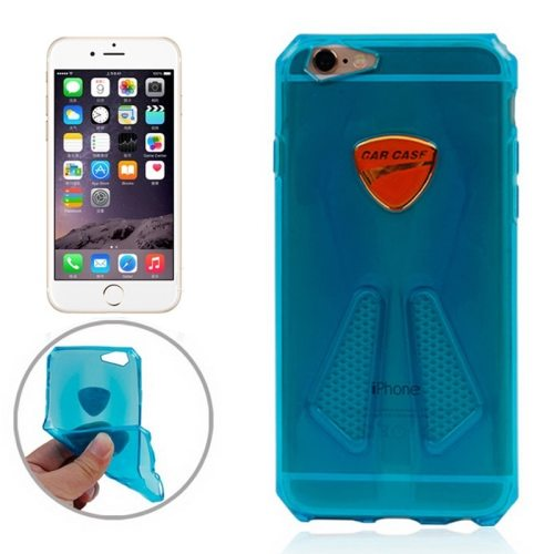 Racing Car Style Transparent Soft TPU Cover for iPhone 6 (Blue)