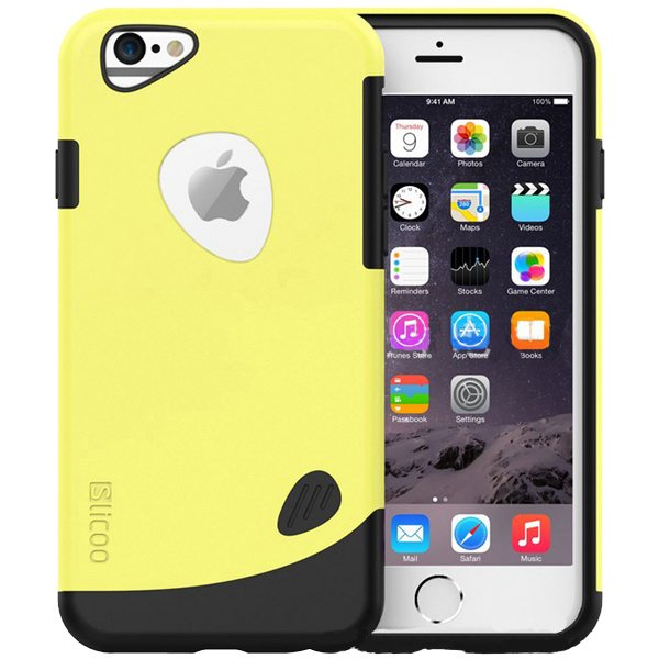 Slicoo Brand 2 in 1 Soft TPU and Hard Protective Hybrid Case for iPhone 6 (Yellow)