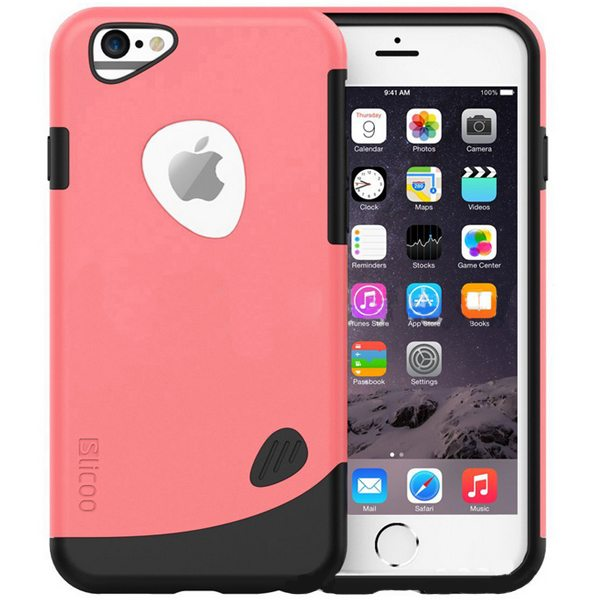 Slicoo Brand 2 in 1 Soft TPU and Hard Protective Hybrid Case for iPhone 6 (Pink)