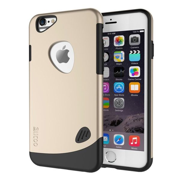 Slicoo Brand 2 in 1 Soft TPU and Hard Protective Hybrid Case for iPhone 6 (Gold)