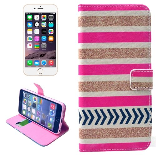 Folio Flip Magnetic Wallet Leather Cover for iPhone 6 with Card Slots (Gold and Pink Stripe Pattern)