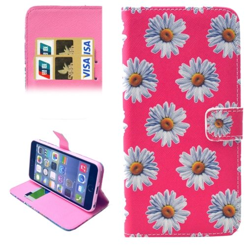 Folio Flip Magnetic Wallet Leather Cover for iPhone 6 with Card Slots (Pink Chrysanthemum Pattern)