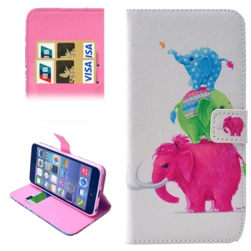 Folio Flip Magnetic Wallet Leather Cover for iPhone 6 with Card Slots (Elephant Pattern)