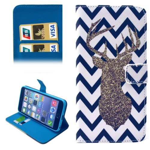 Folio Flip Magnetic Wallet Leather Cover for iPhone 6 with Card Slots (Deer and Wave Stripe Pattern)