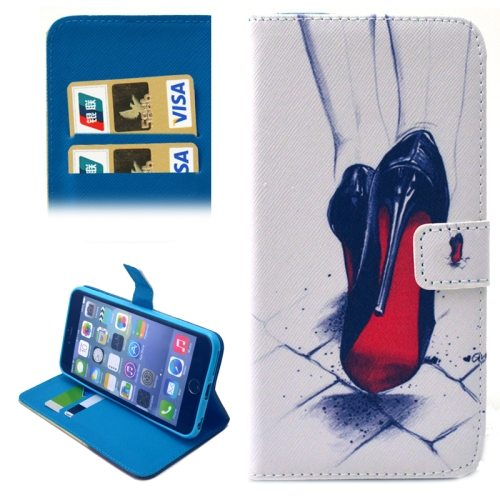 Folio Flip Magnetic Wallet Leather Cover for iPhone 6 with Card Slots (High Heel Shoes Pattern)